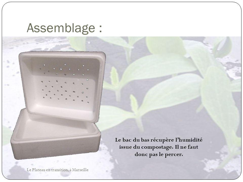 Assemblage : Le bac du bas récupère lhumidité issue du compostage. Il ne faut donc pas le percer. Le Plateau en transition, à Marseille