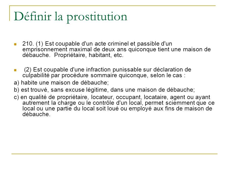 Définir la prostitution 210.