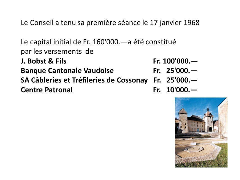 Le Conseil a tenu sa première séance le 17 janvier 1968 Le capital initial de Fr.
