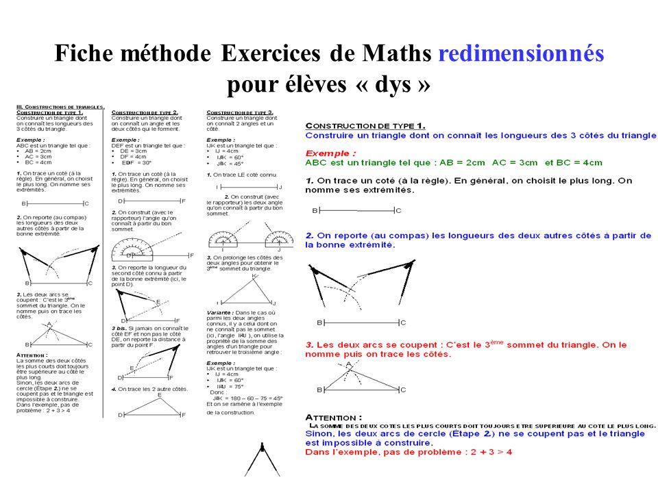 Fiche méthode Exercices de Maths redimensionnés pour élèves « dys »