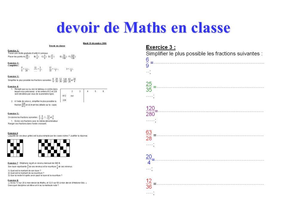 devoir de Maths en classe