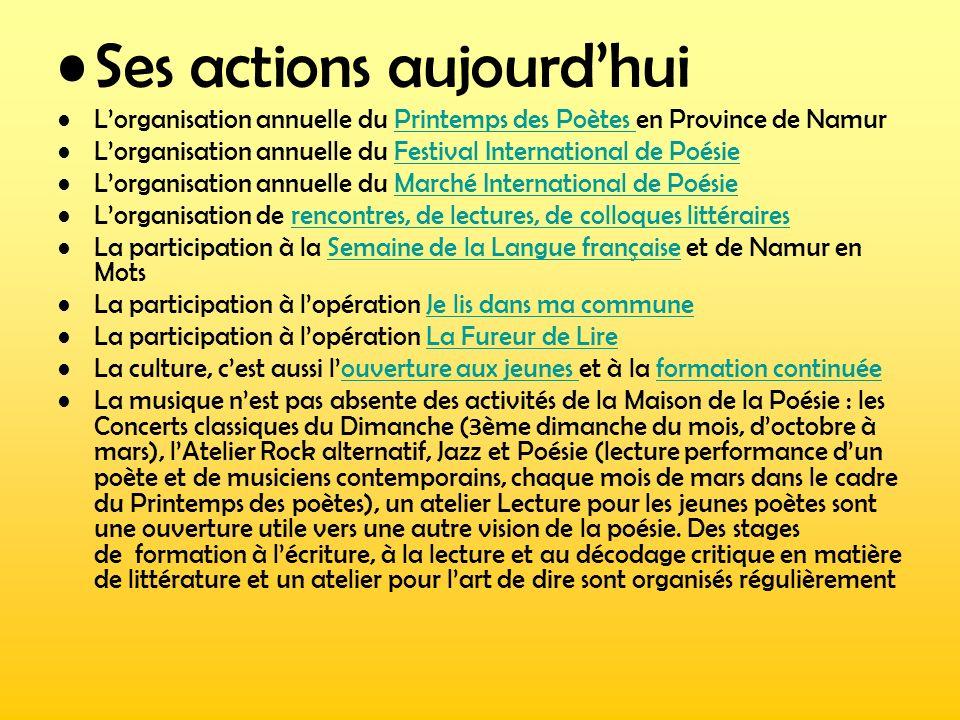 Ses actions aujourdhui Lorganisation annuelle du Printemps des Poètes en Province de NamurPrintemps des Poètes Lorganisation annuelle du Festival Inte