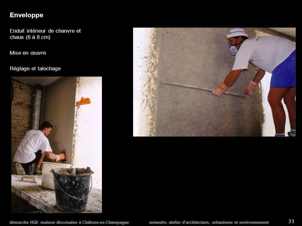 démarche HQE maison diocésaine à Châlons-en-Champagne méandre, atelier darchitecture, urbanisme et environnement 31 démarche HQE maison diocésaine à Châlons-en-Champagne méandre, atelier darchitecture, urbanisme et environnement Enveloppe Enduit intérieur de chanvre et chaux (6 à 8 cm) Mise en œuvre Réglage et talochage