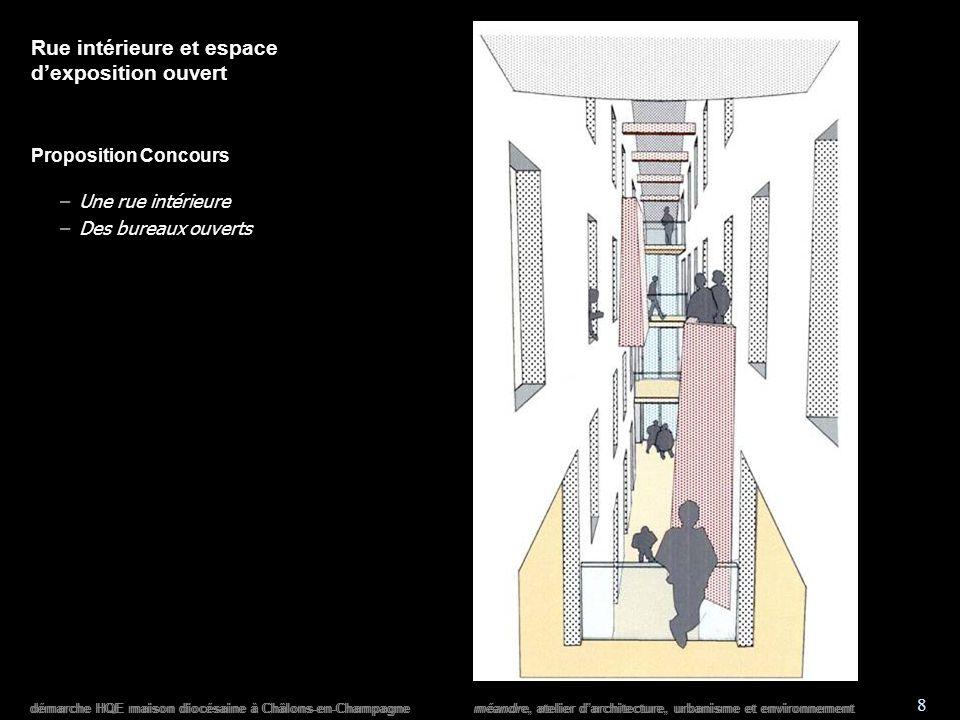 démarche HQE maison diocésaine à Châlons-en-Champagne méandre, atelier darchitecture, urbanisme et environnement 8 Rue intérieure et espace dexposition ouvert Proposition Concours –Une rue intérieure –Des bureaux ouverts