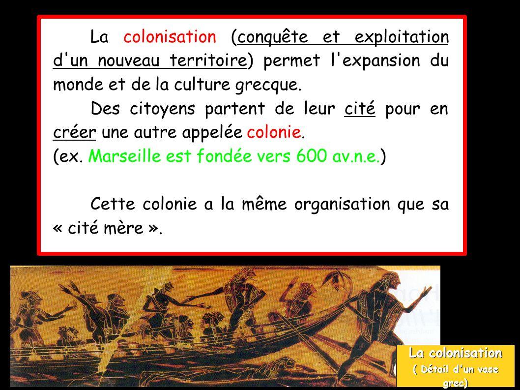 La colonisation (conquête et exploitation d un nouveau territoire) permet l expansion du monde et de la culture grecque.