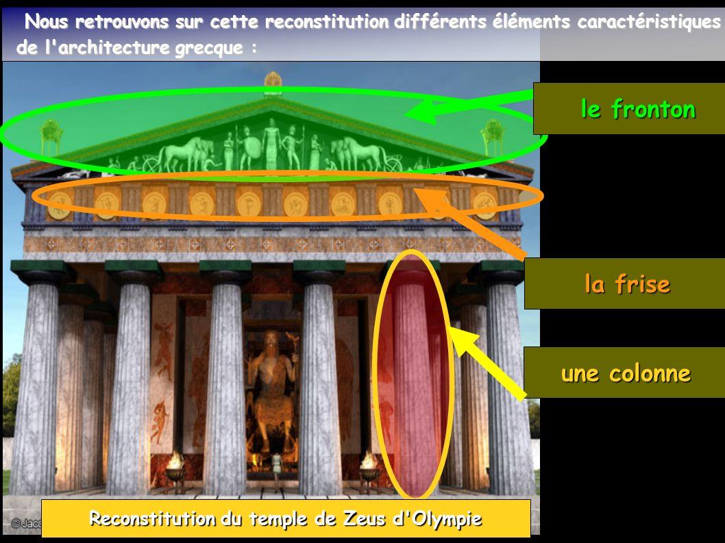 la frise une colonne Reconstitution du temple de Zeus d Olympie Nous retrouvons sur cette reconstitution différents éléments caractéristiques Nous retrouvons sur cette reconstitution différents éléments caractéristiques de l architecture grecque : de l architecture grecque : le fronton le fronton