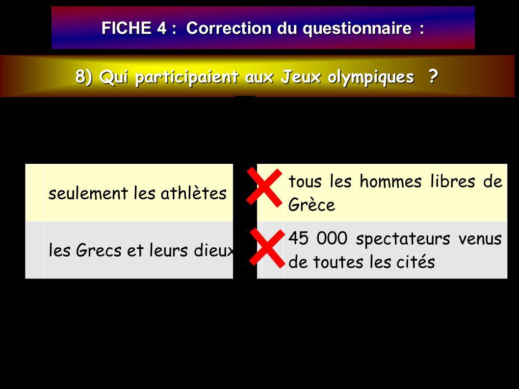 FICHE 4 : Correction du questionnaire : 8) Qui participaient aux Jeux olympiques .