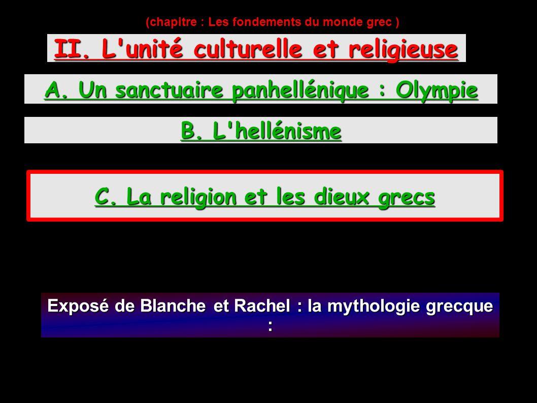 (chapitre : Les fondements du monde grec ) II.L unité culturelle et religieuse A.