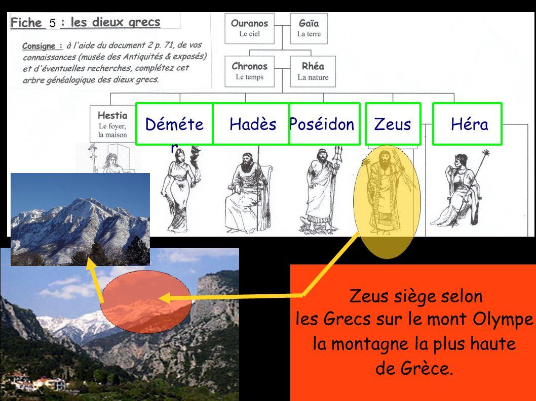 PoséidonZeus Héra Déméte r Zeus siège selon les Grecs sur le mont Olympe la montagne la plus haute de Grèce.