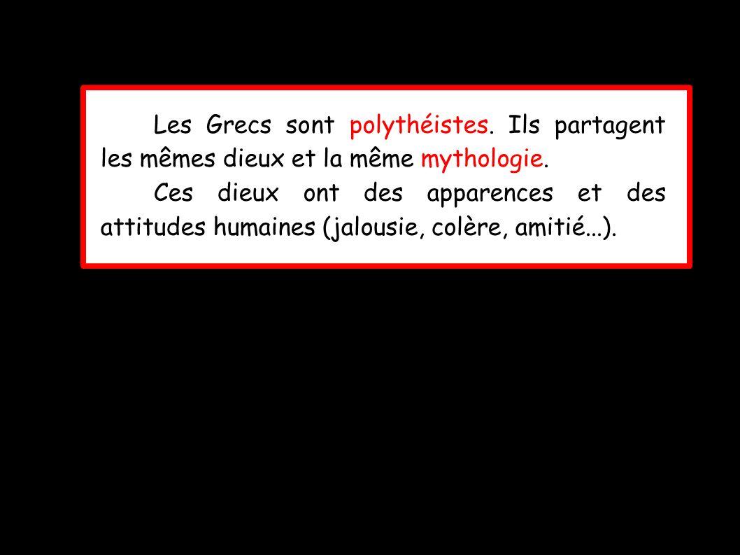 Les Grecs sont polythéistes.Ils partagent les mêmes dieux et la même mythologie.