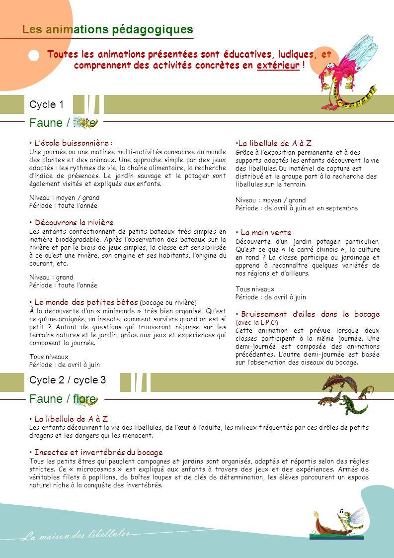 Les animations pédagogiques Cycle 1 Faune / flore Lécole buissonnière : Une journée ou une matinée multi-activités consacrée au monde des plantes et des animaux.