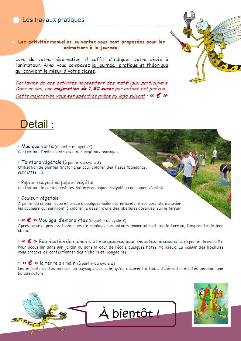 Les travaux pratiques Les activités manuelles suivantes vous sont proposées pour les animations à la journée.