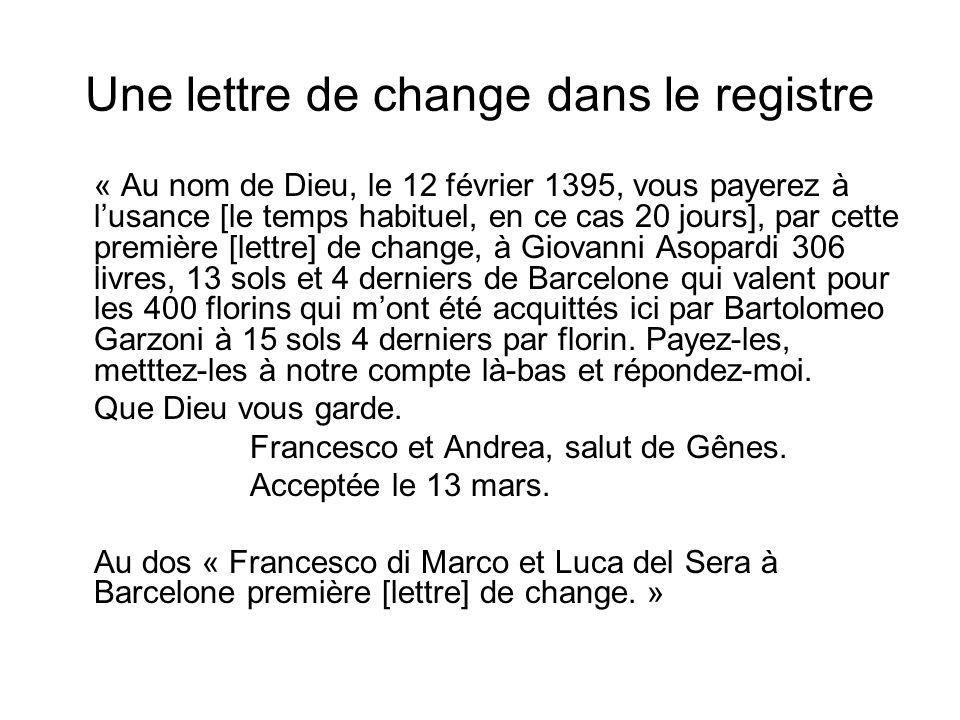 Une lettre de change dans le registre « Au nom de Dieu, le 12 février 1395, vous payerez à lusance [le temps habituel, en ce cas 20 jours], par cette