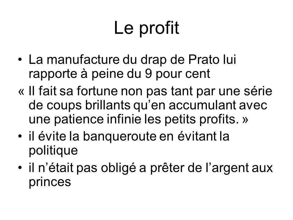 Le profit La manufacture du drap de Prato lui rapporte à peine du 9 pour cent « Il fait sa fortune non pas tant par une série de coups brillants quen