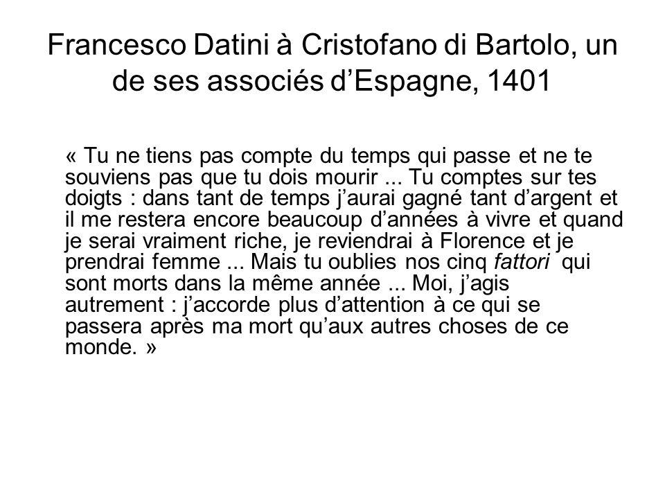Francesco Datini à Cristofano di Bartolo, un de ses associés dEspagne, 1401 « Tu ne tiens pas compte du temps qui passe et ne te souviens pas que tu d