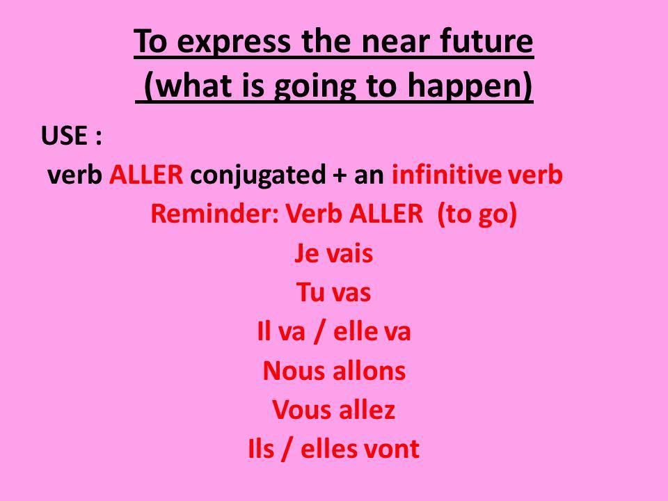 I conjugate ALLER and I add an infinitive verb (no person/no endings) Je vais manger du poulet.