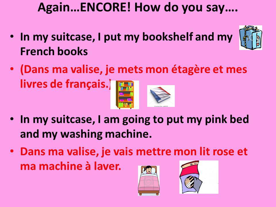 Again…ENCORE! How do you say…. In my suitcase, I put my bookshelf and my French books (Dans ma valise, je mets mon étagère et mes livres de français.)