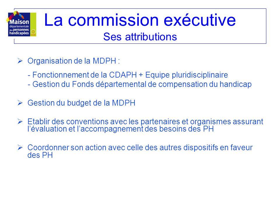 La commission exécutive Ses attributions Organisation de la MDPH : - Fonctionnement de la CDAPH + Equipe pluridisciplinaire - Gestion du Fonds départe