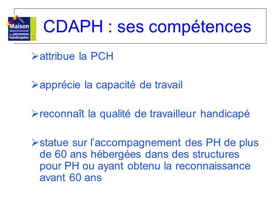 CDAPH : ses compétences attribue la PCH apprécie la capacité de travail reconnaît la qualité de travailleur handicapé statue sur laccompagnement des P