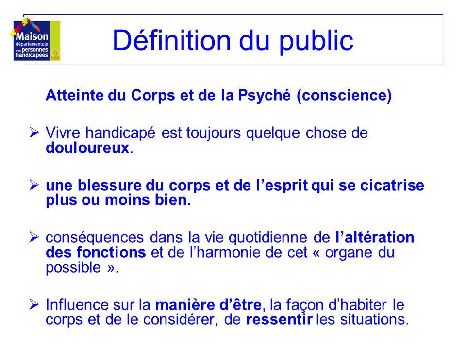 Définition du public Atteinte du Corps et de la Psyché (conscience) Vivre handicapé est toujours quelque chose de douloureux. une blessure du corps et