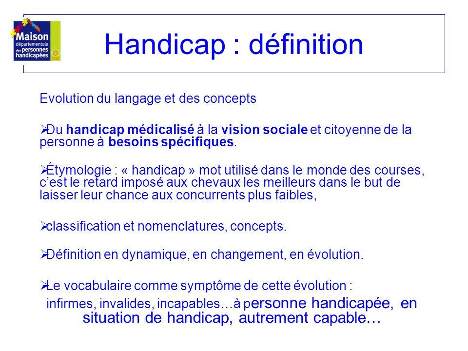Evolution du langage et des concepts Du handicap médicalisé à la vision sociale et citoyenne de la personne à besoins spécifiques. Étymologie : « hand