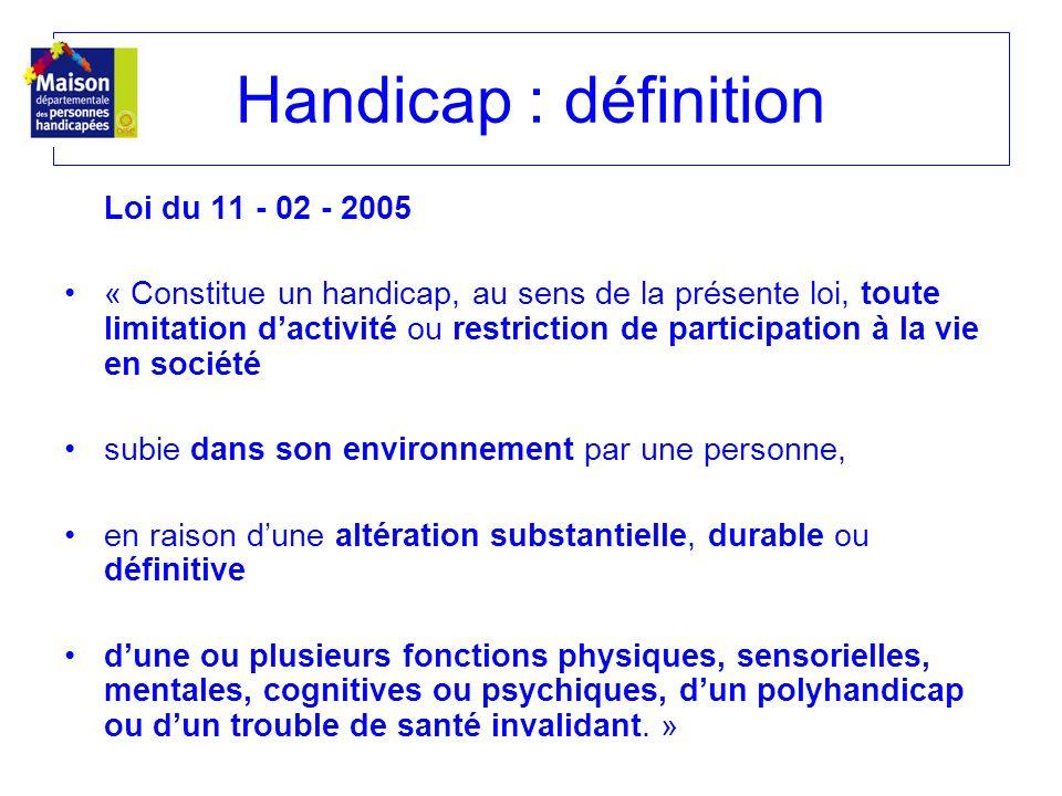 Loi du 11 - 02 - 2005 « Constitue un handicap, au sens de la présente loi, toute limitation dactivité ou restriction de participation à la vie en soci