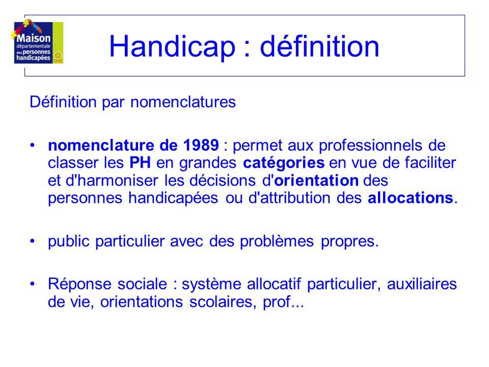 Définition par nomenclatures nomenclature de 1989 : permet aux professionnels de classer les PH en grandes catégories en vue de faciliter et d'harmoni