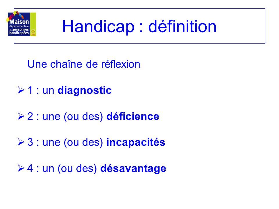 Handicap : définition Une chaîne de réflexion 1 : un diagnostic 2 : une (ou des) déficience 3 : une (ou des) incapacités 4 : un (ou des) désavantage