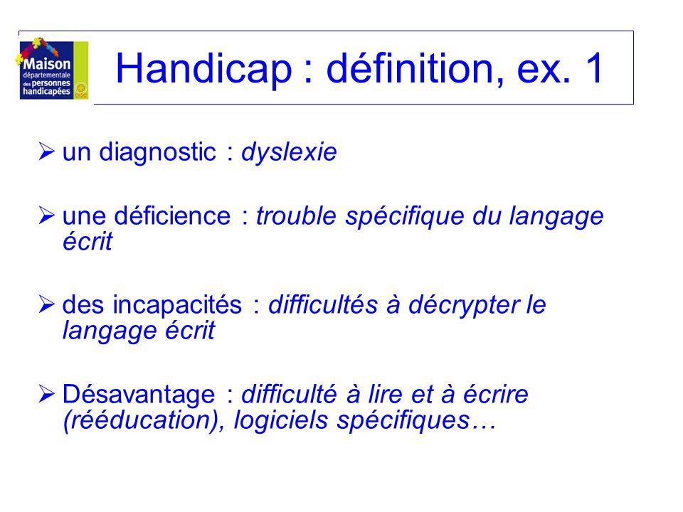 Handicap : définition, ex. 1 un diagnostic : dyslexie une déficience : trouble spécifique du langage écrit des incapacités : difficultés à décrypter l