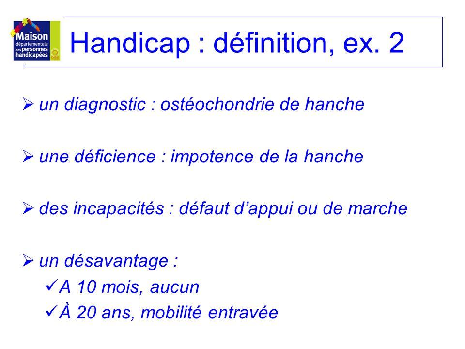 Handicap : définition, ex. 2 un diagnostic : ostéochondrie de hanche une déficience : impotence de la hanche des incapacités : défaut dappui ou de mar
