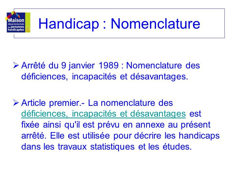 Arrêté du 9 janvier 1989 : Nomenclature des déficiences, incapacités et désavantages. Article premier.- La nomenclature des déficiences, incapacités e