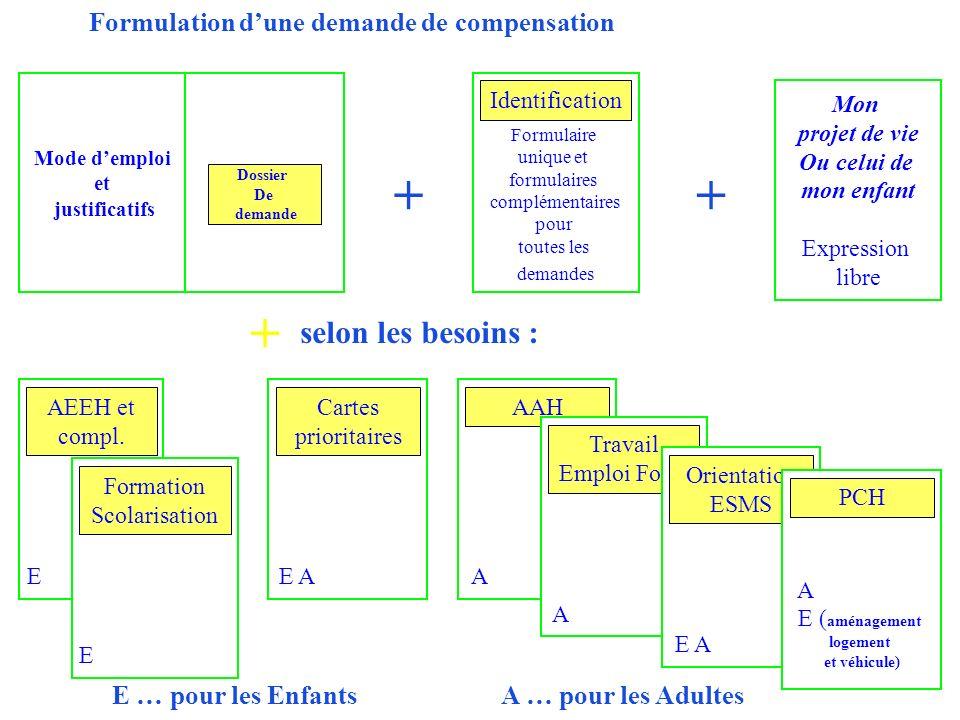 Mode demploi et justificatifs Dossier De demande Formulaire unique et formulaires complémentaires pour toutes les demandes Identification E AEEH et co