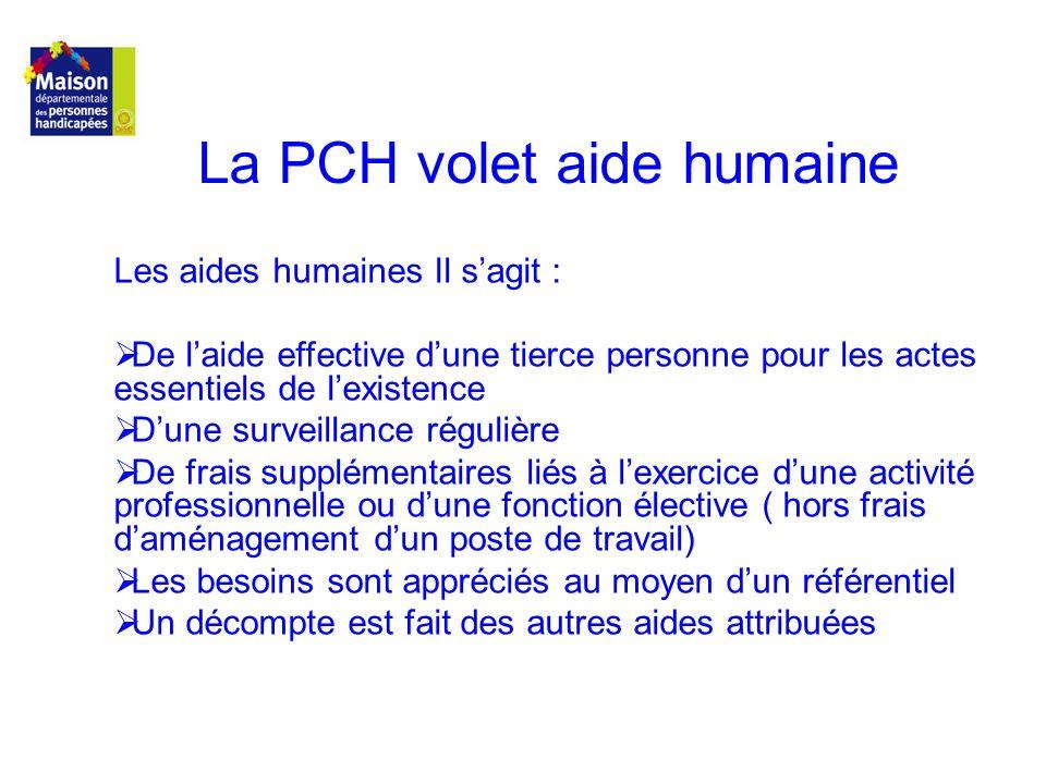La PCH volet aide humaine Les aides humaines Il sagit : De laide effective dune tierce personne pour les actes essentiels de lexistence Dune surveilla