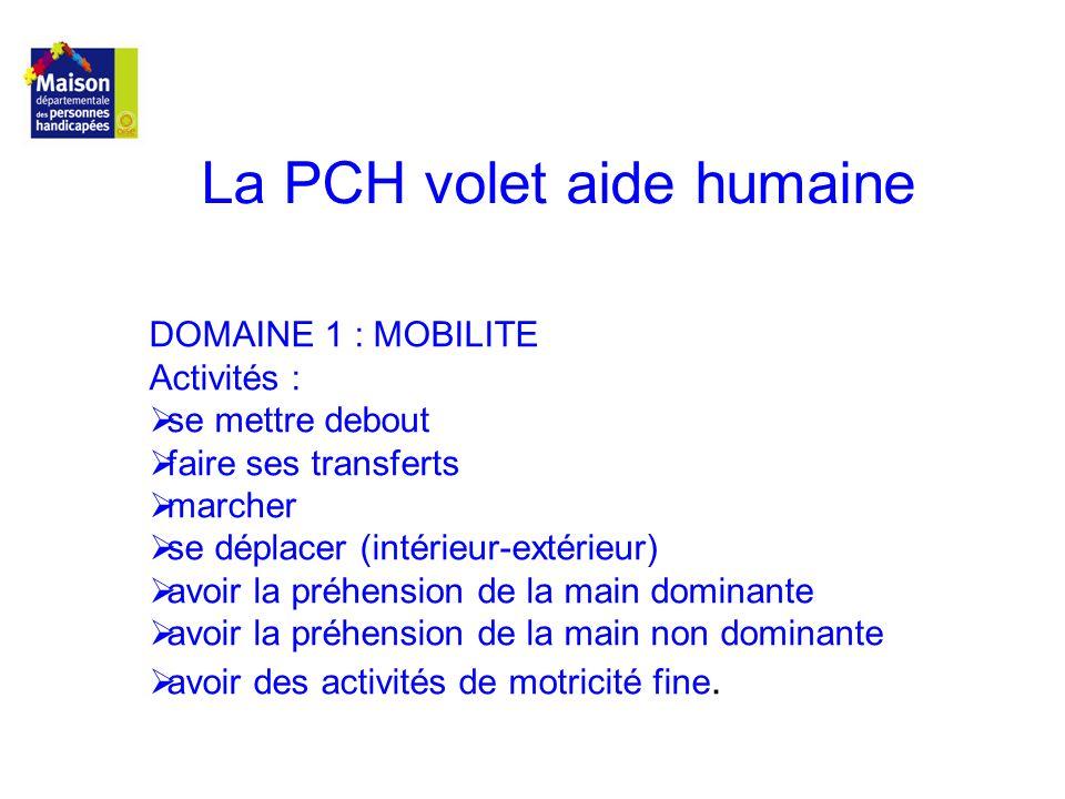 La PCH volet aide humaine DOMAINE 1 : MOBILITE Activités : se mettre debout faire ses transferts marcher se déplacer (intérieur-extérieur) avoir la pr