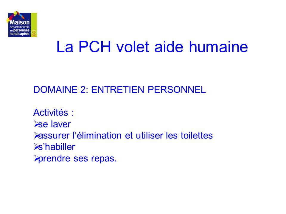 La PCH volet aide humaine DOMAINE 2: ENTRETIEN PERSONNEL Activités : se laver assurer lélimination et utiliser les toilettes shabiller prendre ses rep