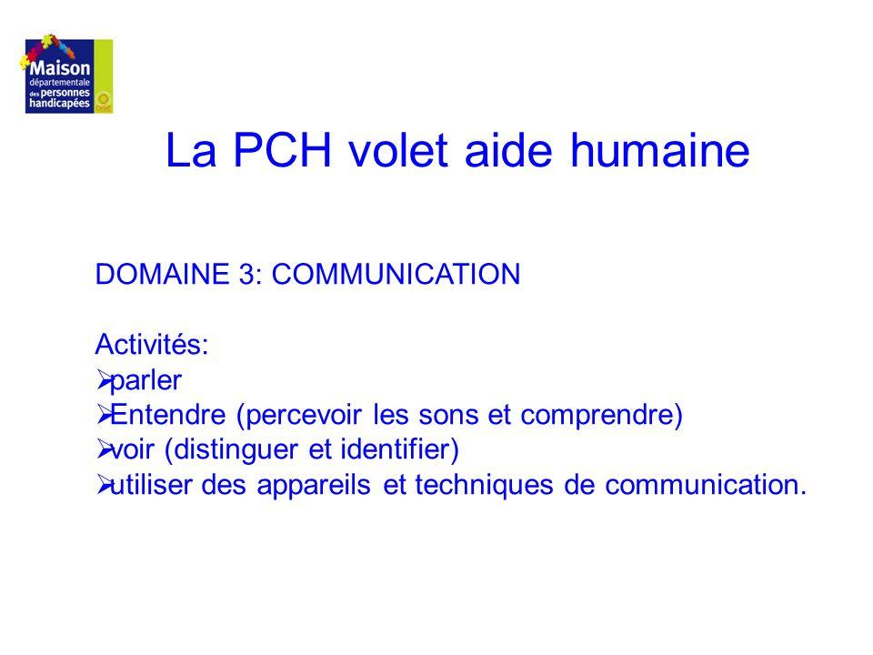 La PCH volet aide humaine DOMAINE 3: COMMUNICATION Activités: parler Entendre (percevoir les sons et comprendre) voir (distinguer et identifier) utili