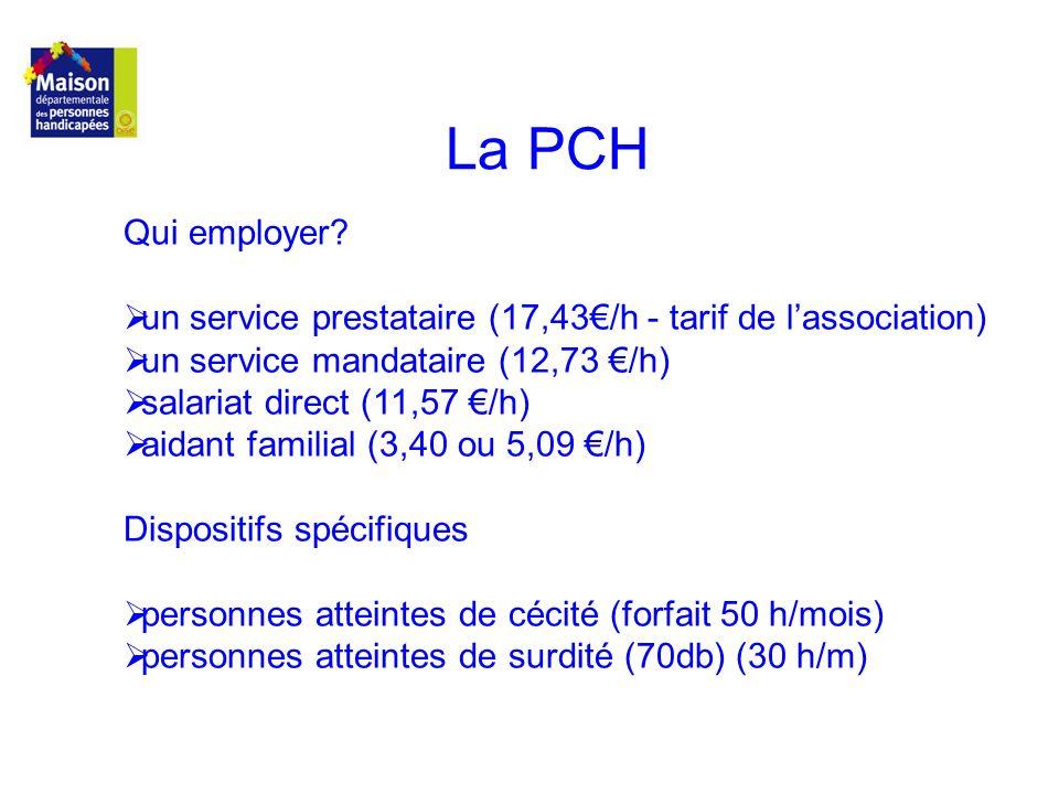 La PCH Qui employer? un service prestataire (17,43/h - tarif de lassociation) un service mandataire (12,73 /h) salariat direct (11,57 /h) aidant famil