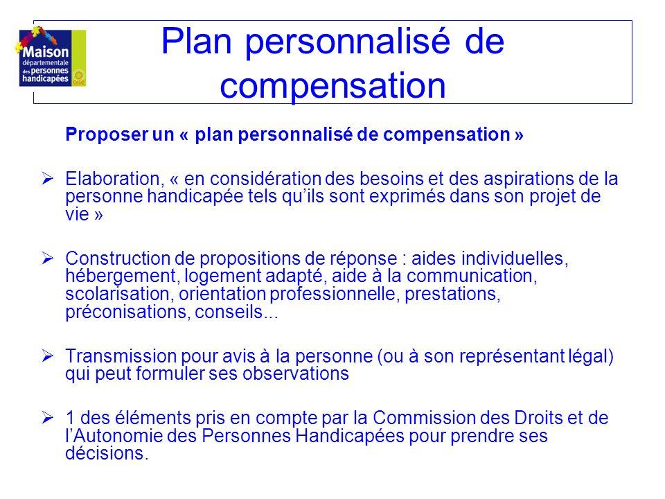 Proposer un « plan personnalisé de compensation » Elaboration, « en considération des besoins et des aspirations de la personne handicapée tels quils