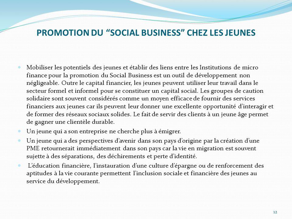 PROMOTION DU SOCIAL BUSINESS CHEZ LES JEUNES Mobiliser les potentiels des jeunes et établir des liens entre les Institutions de micro finance pour la promotion du Social Business est un outil de développement non négligeable.