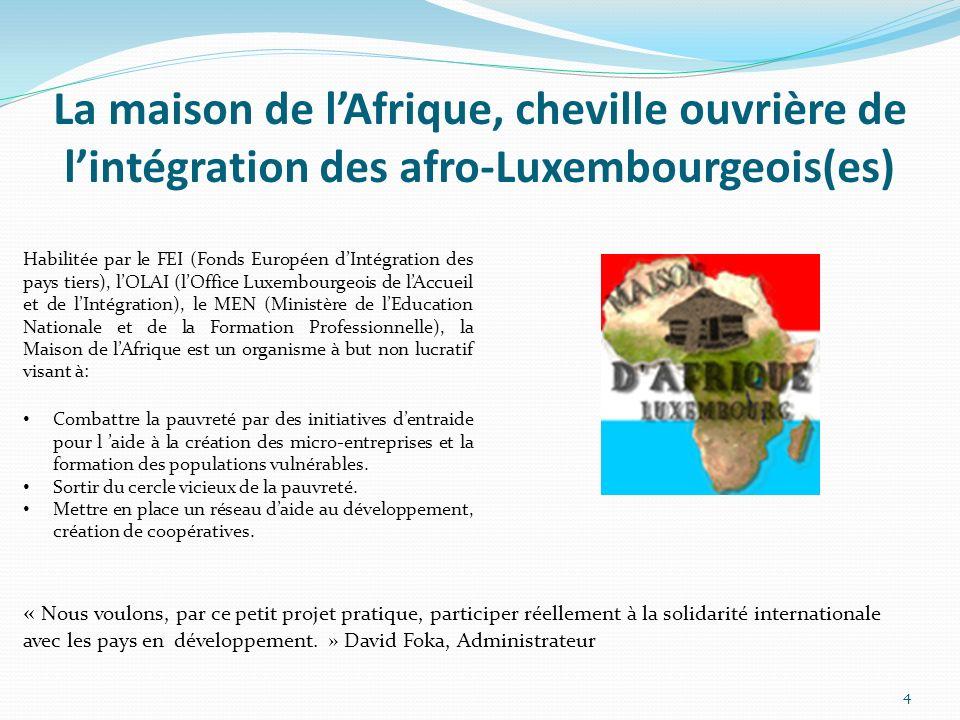 La maison de lAfrique, cheville ouvrière de lintégration des afro-Luxembourgeois(es) Habilitée par le FEI (Fonds Européen dIntégration des pays tiers), lOLAI (lOffice Luxembourgeois de lAccueil et de lIntégration), le MEN (Ministère de lEducation Nationale et de la Formation Professionnelle), la Maison de lAfrique est un organisme à but non lucratif visant à: Combattre la pauvreté par des initiatives dentraide pour l aide à la création des micro-entreprises et la formation des populations vulnérables.