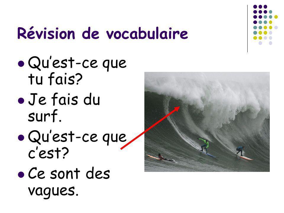 Révision de vocabulaire Quest-ce que tu fais? Je fais du surf. Quest-ce que cest? Ce sont des vagues.