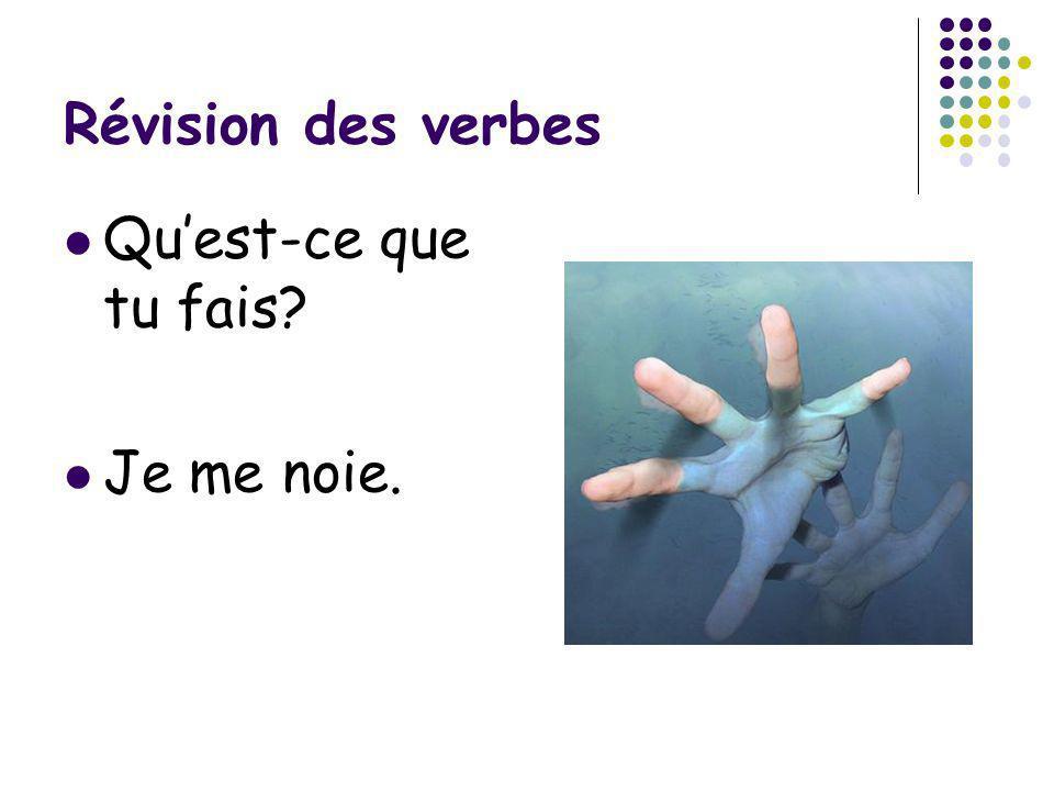 Révision des verbes Quest-ce que tu fais? Je me noie.