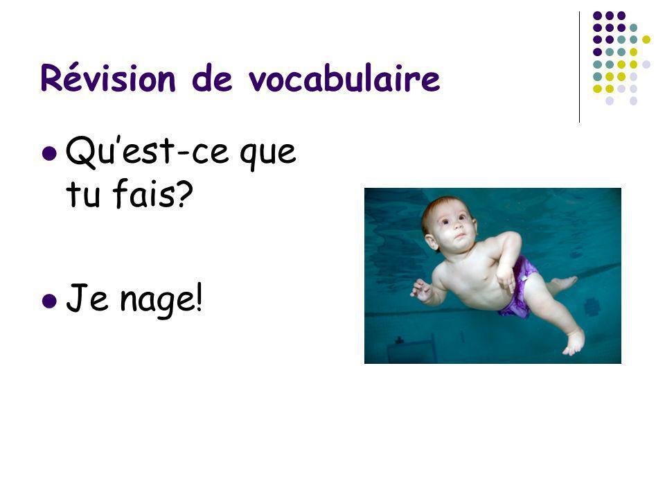 Révision de vocabulaire Quest-ce que tu fais? Je nage!