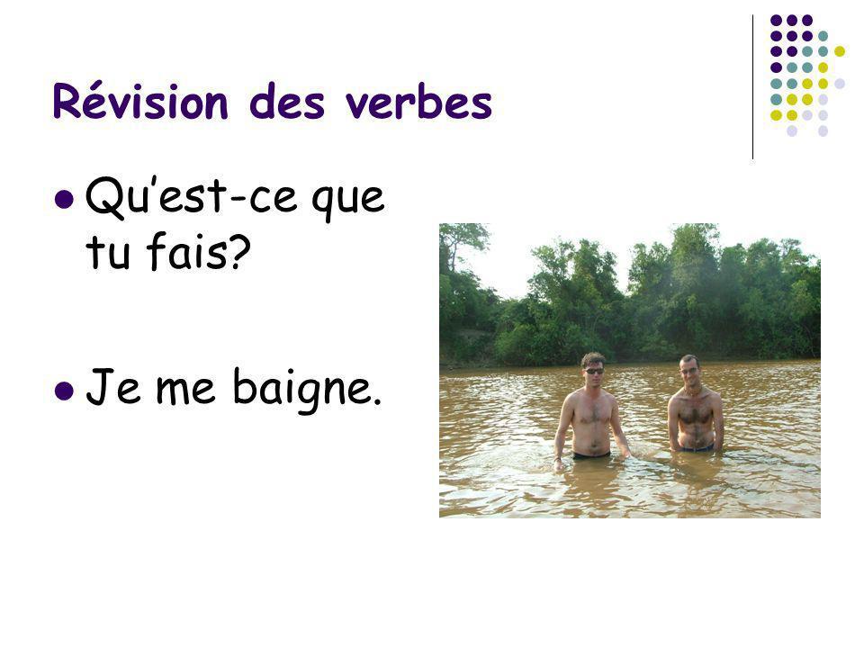Révision des verbes Quest-ce que tu fais? Je me baigne.