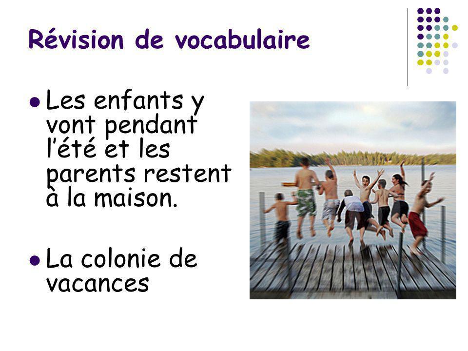 Révision de vocabulaire Les enfants y vont pendant lété et les parents restent à la maison. La colonie de vacances
