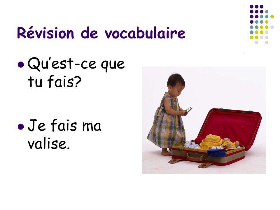 Révision de vocabulaire Quest-ce que tu fais? Je fais ma valise.