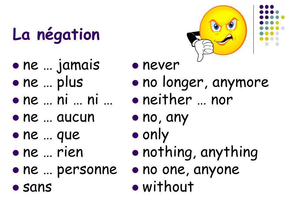 La négation ne … jamais ne … plus ne … ni … ni … ne … aucun ne … que ne … rien ne … personne sans never no longer, anymore neither … nor no, any only