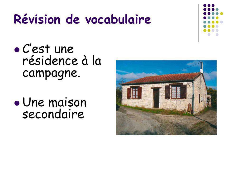 Révision de vocabulaire Cest une résidence à la campagne. Une maison secondaire