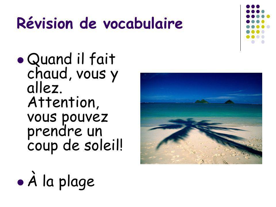 Révision de vocabulaire Quand il fait chaud, vous y allez. Attention, vous pouvez prendre un coup de soleil! À la plage