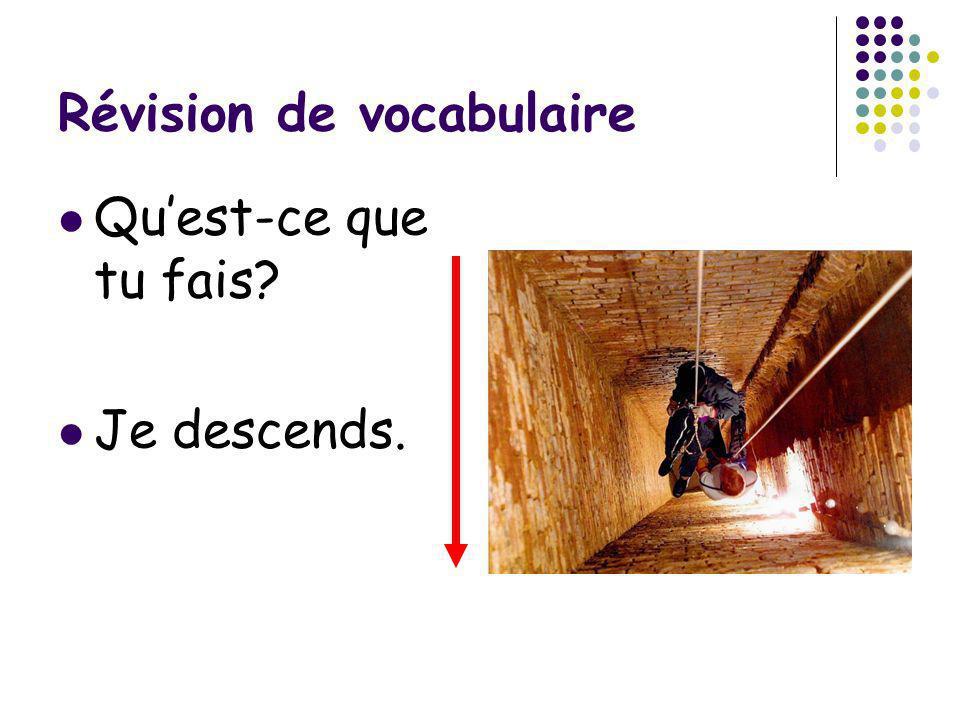 Révision de vocabulaire Quest-ce que tu fais? Je monte.